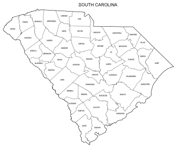 Free printable South Carolina map with county lines, state, outline, printable, shape, template, download.