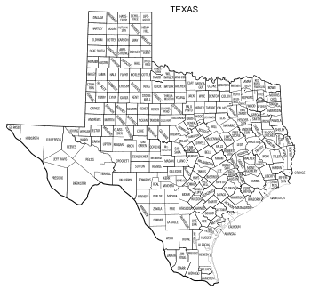Free printable Texas map with county lines, state, outline, printable, shape, template, download.