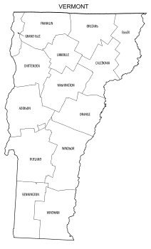 Free printable Vermont map with county lines, state, outline, printable, shape, template, download.