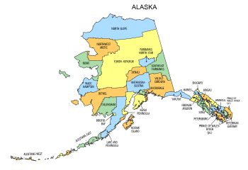 Free Alaska county map, state, printable, outline, county lines, shape, template, download.