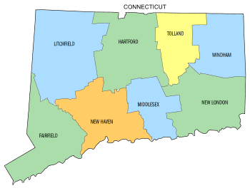 Free Connecticut county map, state, printable, outline, county lines, shape, template, download.