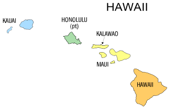 Free Hawaii county map, state, printable, outline, county lines, shape, template, download.