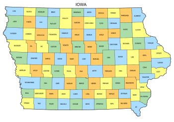 Free Iowa county map, state, printable, outline, county lines, shape, template, download.