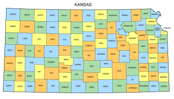 Free Kansas county map, state, printable, outline, county lines, shape, template, download.