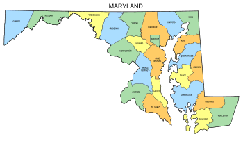 Free Maryland county map, state, printable, outline, county lines, shape, template, download.