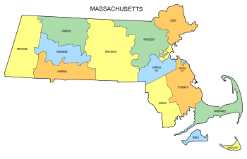 Free Massachusetts county map, state, printable, outline, county lines, shape, template, download.
