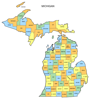 Free Michigan county map, state, printable, outline, county lines, shape, template, download.