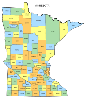 Free Minnesota county map, state, printable, outline, county lines, shape, template, download.