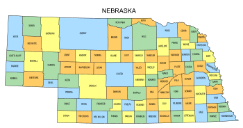 Free Nebraska county map, state, printable, outline, county lines, shape, template, download.
