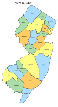 Free New Jersey county map, state, printable, outline, county lines, shape, template, download.