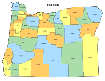 Free Oregon county map, state, printable, outline, county lines, shape, template, download.