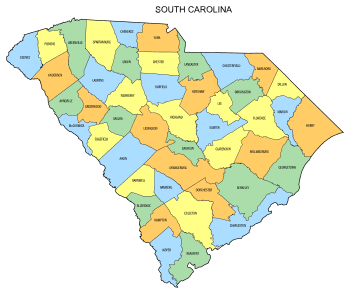 Free South Carolina county map, state, printable, outline, county lines, shape, template, download.