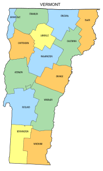 Free Vermont county map, state, printable, outline, county lines, shape, template, download.