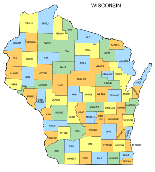 Free Wisconsin county map, state, printable, outline, county lines, shape, template, download.