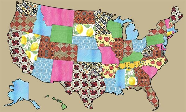 USA Patchwork Map Quilt of United States