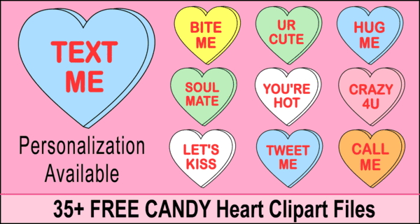 Candy Heart Sayings (Valentine's Day Conversation Clip Art)