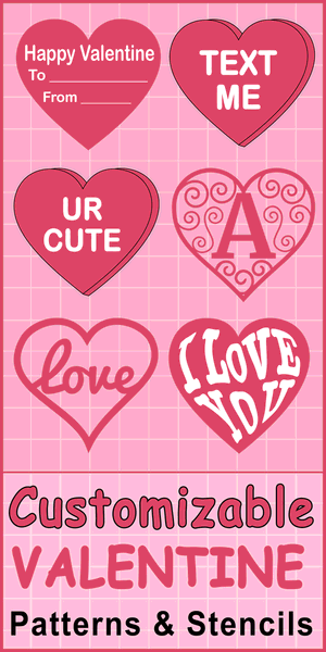 Free DIY Heart Patterns (Valentine's Day Clip art).  Use these printable love patterns and stencils to create custom or personal decorations, crafts, coloring pages, and SVG cutting files.