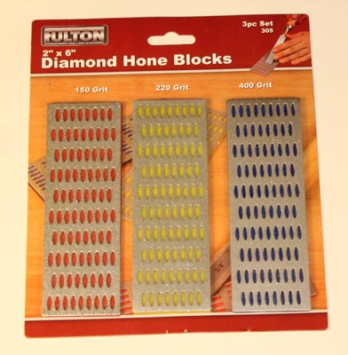 A three pack of diamond hone blocks.