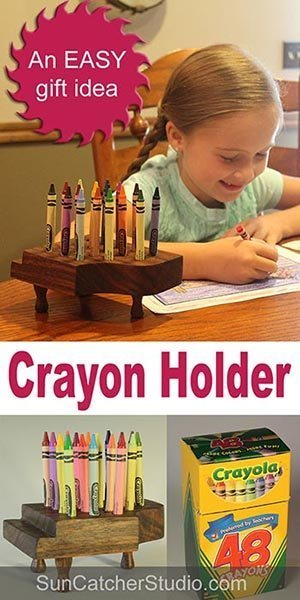 Crayon Holder Plans - Easy Beginner DIY woodworking project with plans.  Great gift idea to hold crayons.