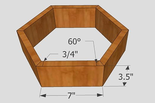 Dimensions for hexagon wall shelf.