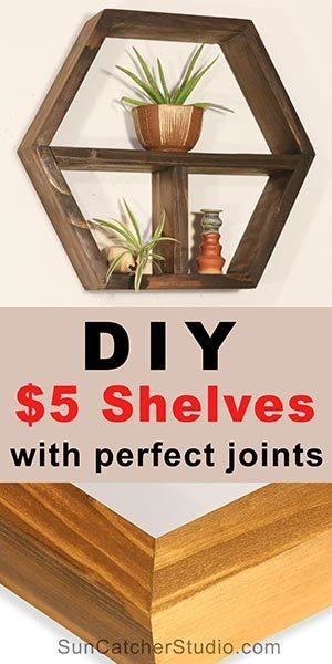 DIY woodworking project:  Honeycomb, Hexagon shelves.  Learn how to make hanging, floating, wall shelves and display shelves.