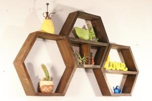 Set of hexagon wall shelves.