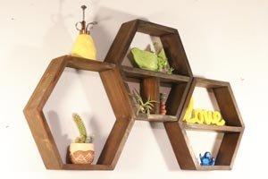 Set of hexagon wall shelves.