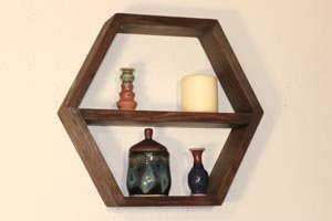 Hexagon shelves with removable center shelf.