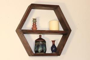 Hexagon shelves with removable center shelf.