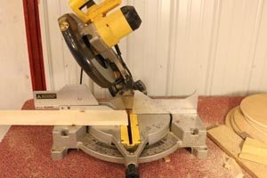 Miter saw 30-degree bevel angle for hexagon wall shelf.