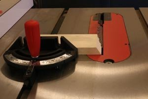 Table saw 30-degree blade tilt for honeycomb display shelves.