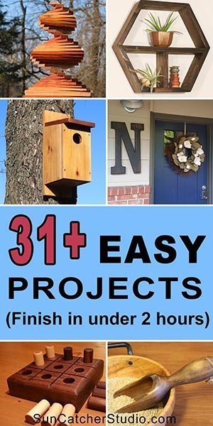 31+ Easy DIY Projects, bird houses, wind spinner. These beginner family woodworking projects make create handmade gifts.