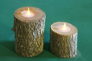 Wooden Candle holder created for a branch or log.
