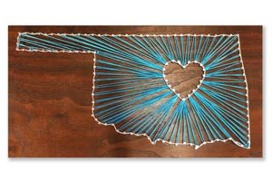 String art Oklahoma with a heart.