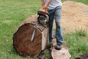 Using chainsaw to create a slab 3