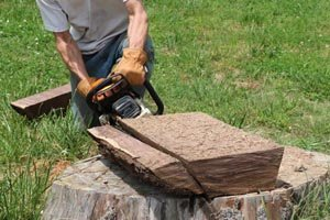 Remove sides of dough bowl using chainsaw at slight angle.