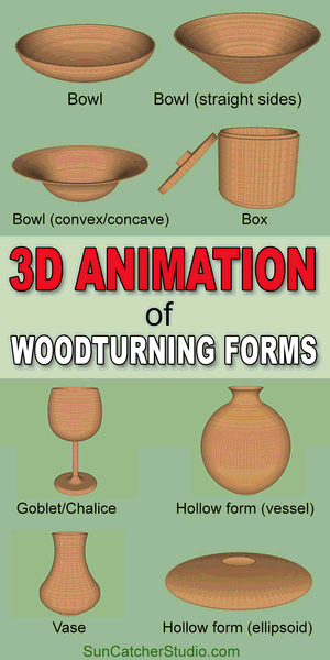 3D animation of woodturning forms including bowl, box, goblet, chalice, platter, hollow form, ellipsoid, globe, sphere, vase, vessel.