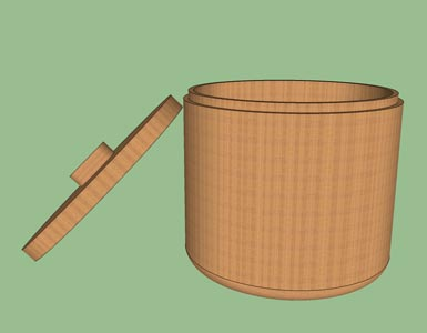 Box woodturning form design shape pattern 3D.