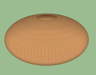 Hollow form ellipsoid woodturning design shape pattern 3D.