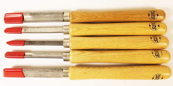 Collection of woodturning tools.