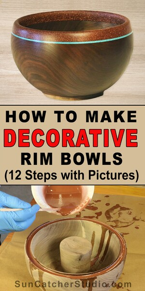 Learn How to Turn a bowl with a decorative rim.  Create metallic looking rims in this fun DIY woodturning project.
