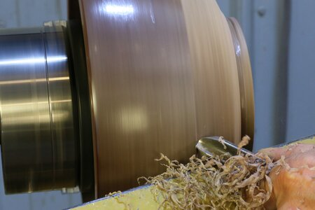 6. Turn the inside and outside of your bowl to remove the thing layer of wood in the rim.