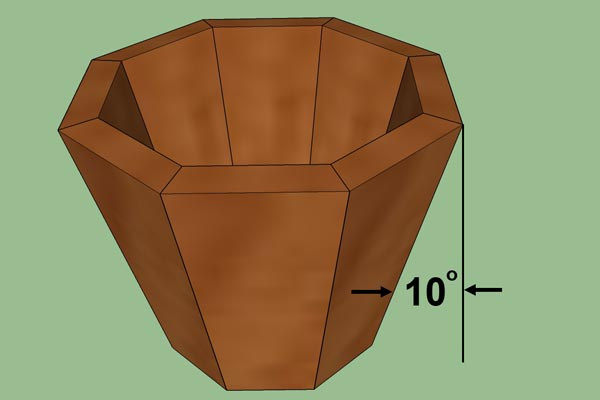 Desired segmented piece (10 degree angle).