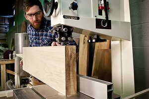 Re-sawing lumber on a bandsaw.