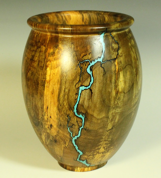 "Maple with turquoise inlay: 13"" x 9.5"" (33cm x 24cm)."