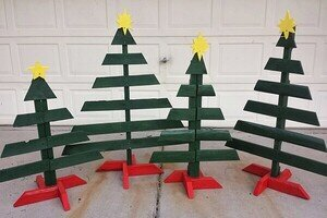 Christmas trees created using a jigsaw tool.