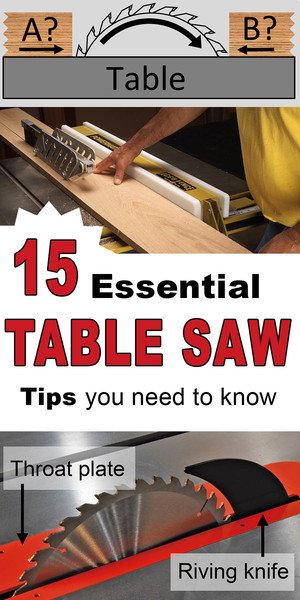 Table saw tips for cabinet, portable and benchtop models.  Includes pointers on blades, teeth, safety and how to rip and cross cut.