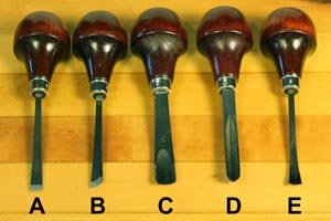 Hand carving tools - chisel, bevel-edge, gouge, v-tool, fishtail gouge.