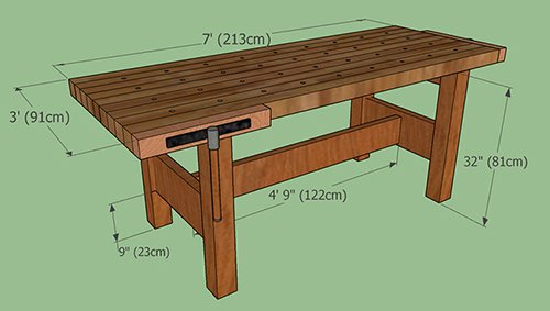 Simple workbench plans with dimensions.